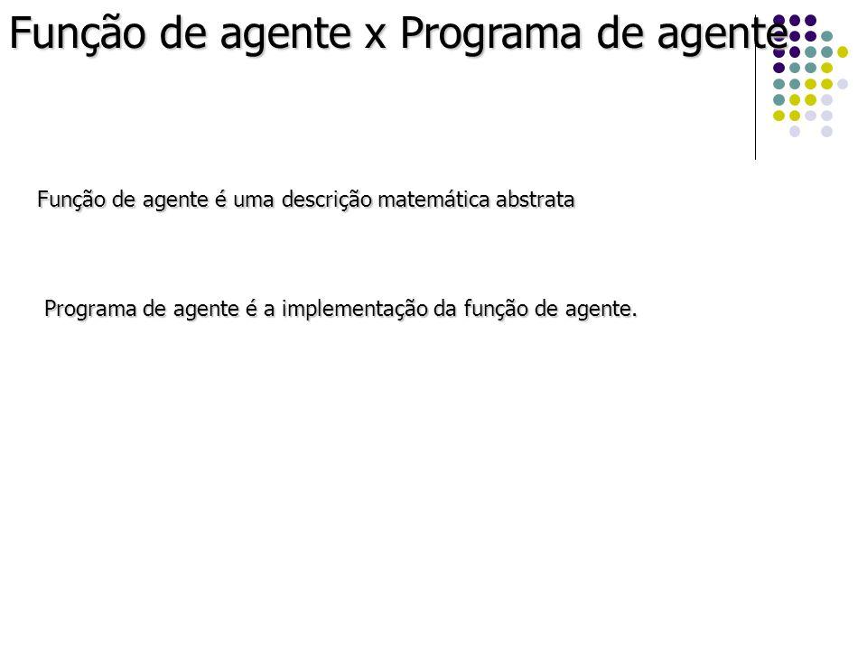 Função de agente x Programa de agente Função de agente é uma descrição matemática abstrata Programa de agente é a implementação da função de agente.