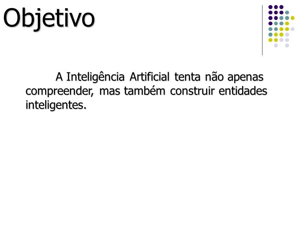Objetivo A Inteligência Artificial tenta não apenas compreender, mas também construir entidades inteligentes.