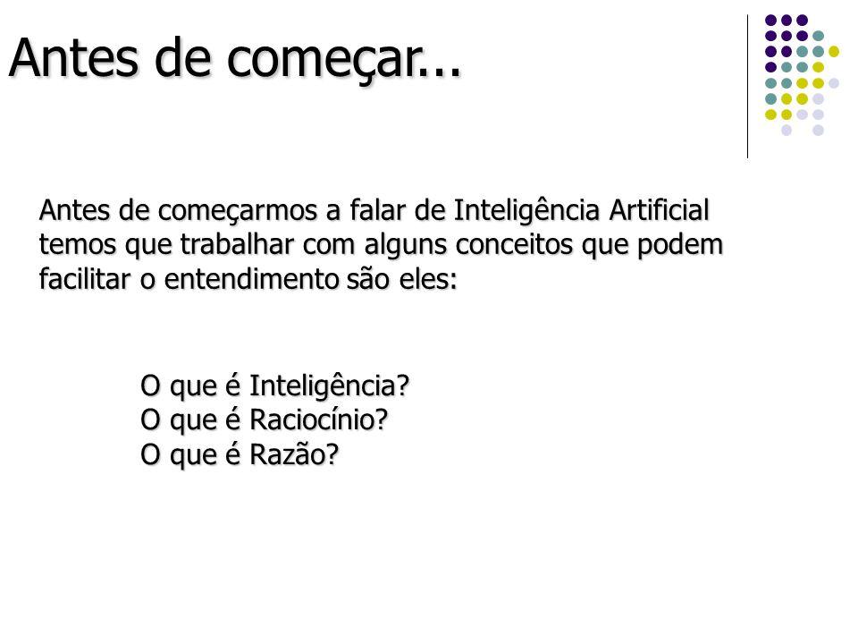 Antes de começar... Antes de começarmos a falar de Inteligência Artificial temos que trabalhar com alguns conceitos que podem facilitar o entendimento