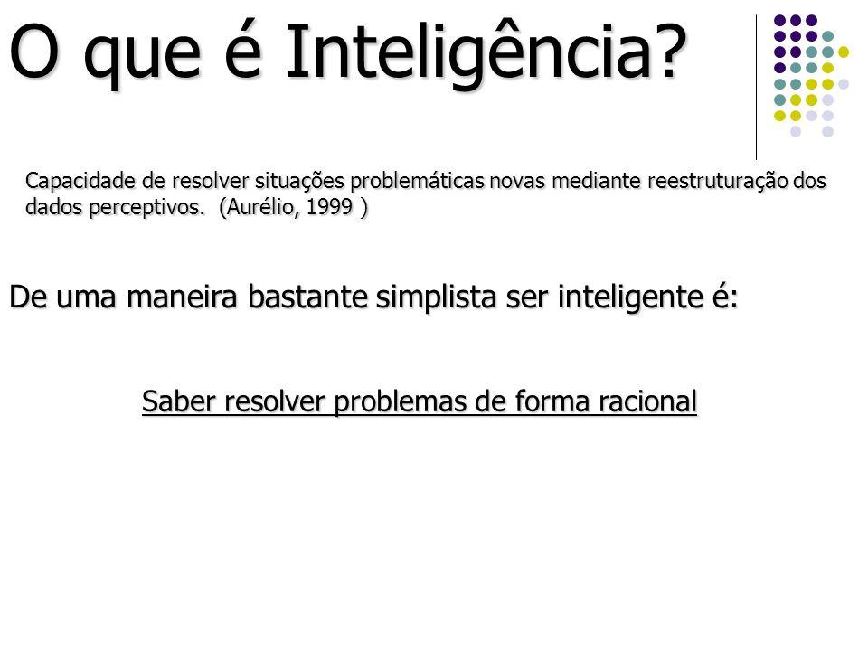 O que é Inteligência? Capacidade de resolver situações problemáticas novas mediante reestruturação dos dados perceptivos. (Aurélio, 1999 ) De uma mane