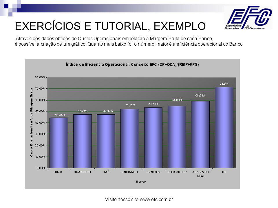 Visite nosso site www.efc.com.br EXERCÍCIOS E TUTORIAL, EXEMPLO Através dos dados obtidos de Custos Operacionais em relação à Margem Bruta de cada Banco, é possível a criação de um gráfico.