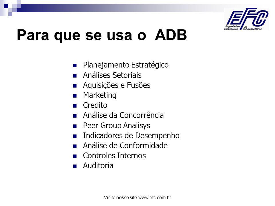 Visite nosso site www.efc.com.br Para que se usa o ADB Planejamento Estratégico Análises Setoriais Aquisições e Fusões Marketing Credito Análise da Concorrência Peer Group Analisys Indicadores de Desempenho Análise de Conformidade Controles Internos Auditoria
