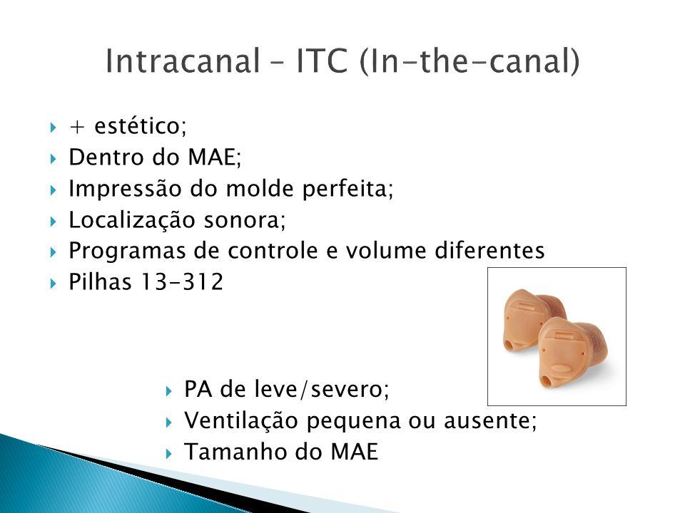  + estético;  Dentro do MAE;  Impressão do molde perfeita;  Localização sonora;  Programas de controle e volume diferentes  Pilhas 13-312  PA d