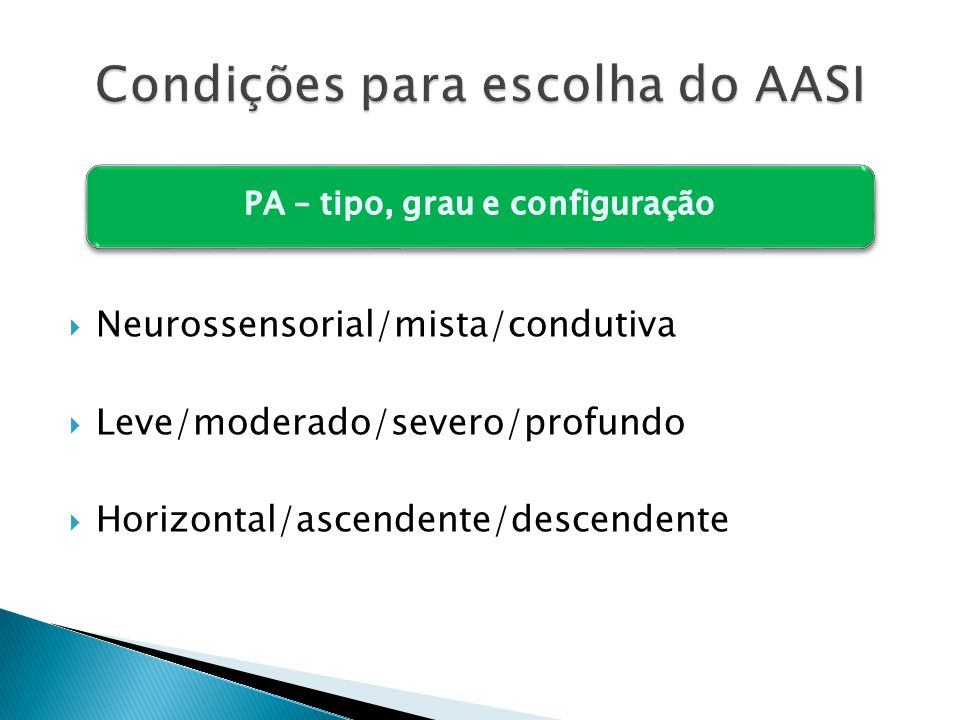  Neurossensorial/mista/condutiva  Leve/moderado/severo/profundo  Horizontal/ascendente/descendente