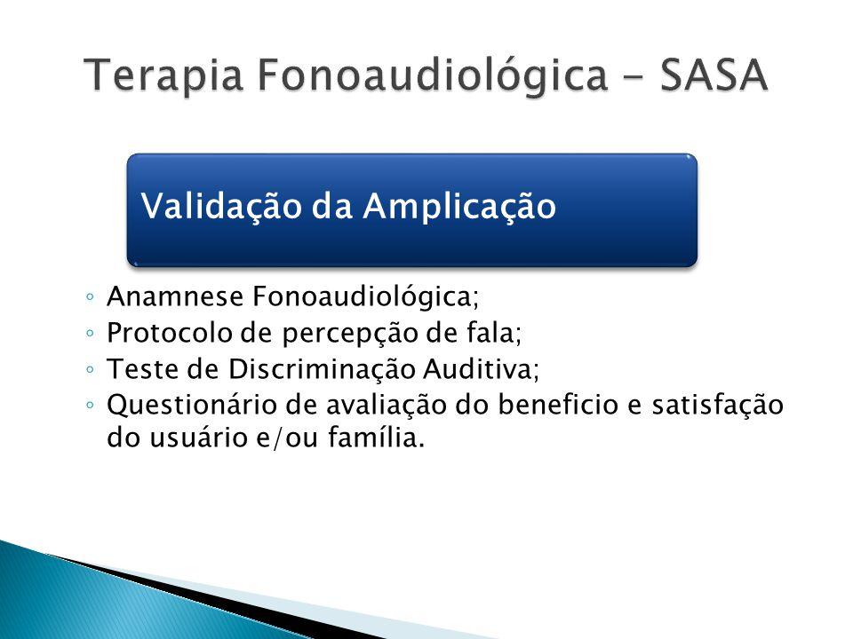 ◦ Anamnese Fonoaudiológica; ◦ Protocolo de percepção de fala; ◦ Teste de Discriminação Auditiva; ◦ Questionário de avaliação do beneficio e satisfação
