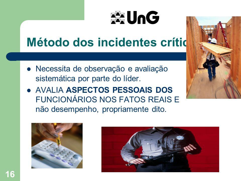 16 Método dos incidentes críticos... Necessita de observação e avaliação sistemática por parte do líder. AVALIA ASPECTOS PESSOAIS DOS FUNCIONÁRIOS NOS