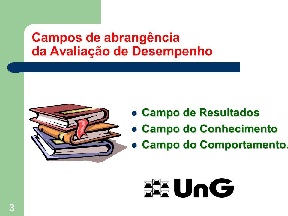 3 Campos de abrangência da Avaliação de Desempenho Campo de Resultados Campo de Resultados Campo do Conhecimento Campo do Conhecimento Campo do Compor