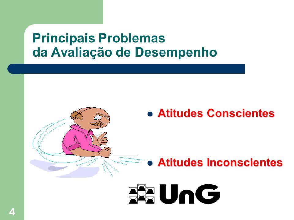 4 Principais Problemas da Avaliação de Desempenho Atitudes Conscientes Atitudes Conscientes Atitudes Inconscientes Atitudes Inconscientes