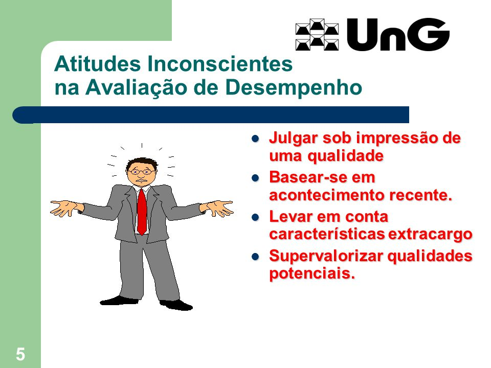 5 Atitudes Inconscientes na Avaliação de Desempenho Julgar sob impressão de uma qualidade Julgar sob impressão de uma qualidade Basear-se em acontecim