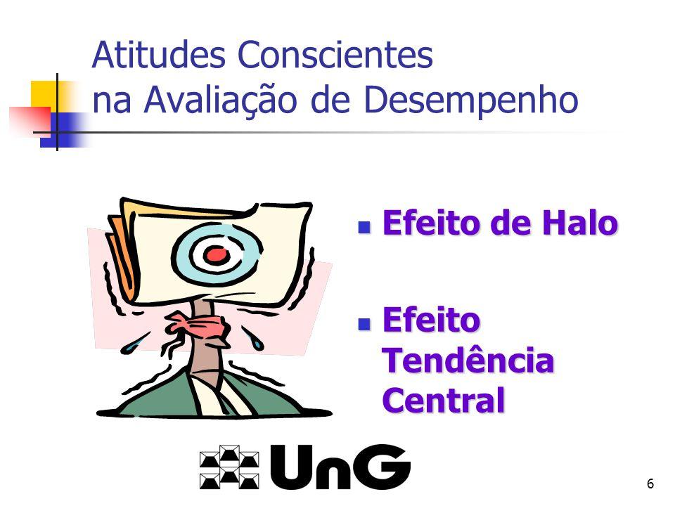 6 Atitudes Conscientes na Avaliação de Desempenho Efeito de Halo Efeito de Halo Efeito Tendência Central Efeito Tendência Central