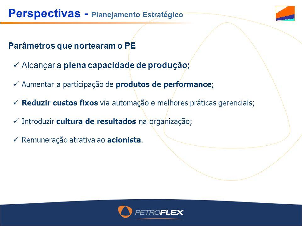 Perspectivas - Planejamento Estratégico Alcançar a plena capacidade de produção; Aumentar a participação de produtos de performance; Reduzir custos fi