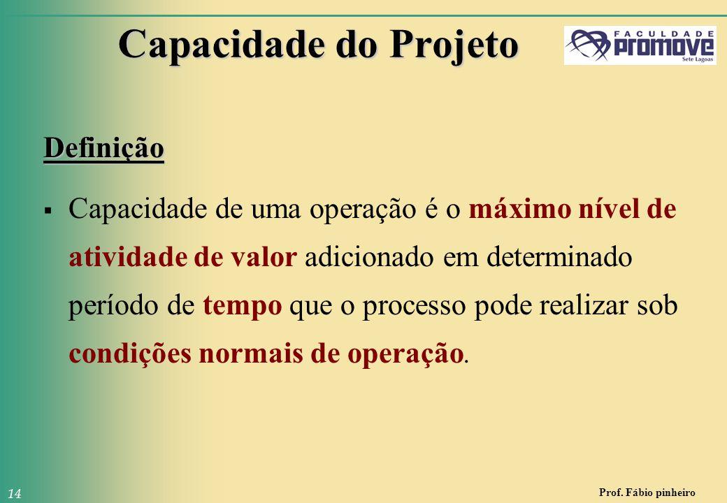 Prof. Fábio pinheiro 14 Capacidade do Projeto Definição  Capacidade de uma operação é o máximo nível de atividade de valor adicionado em determinado