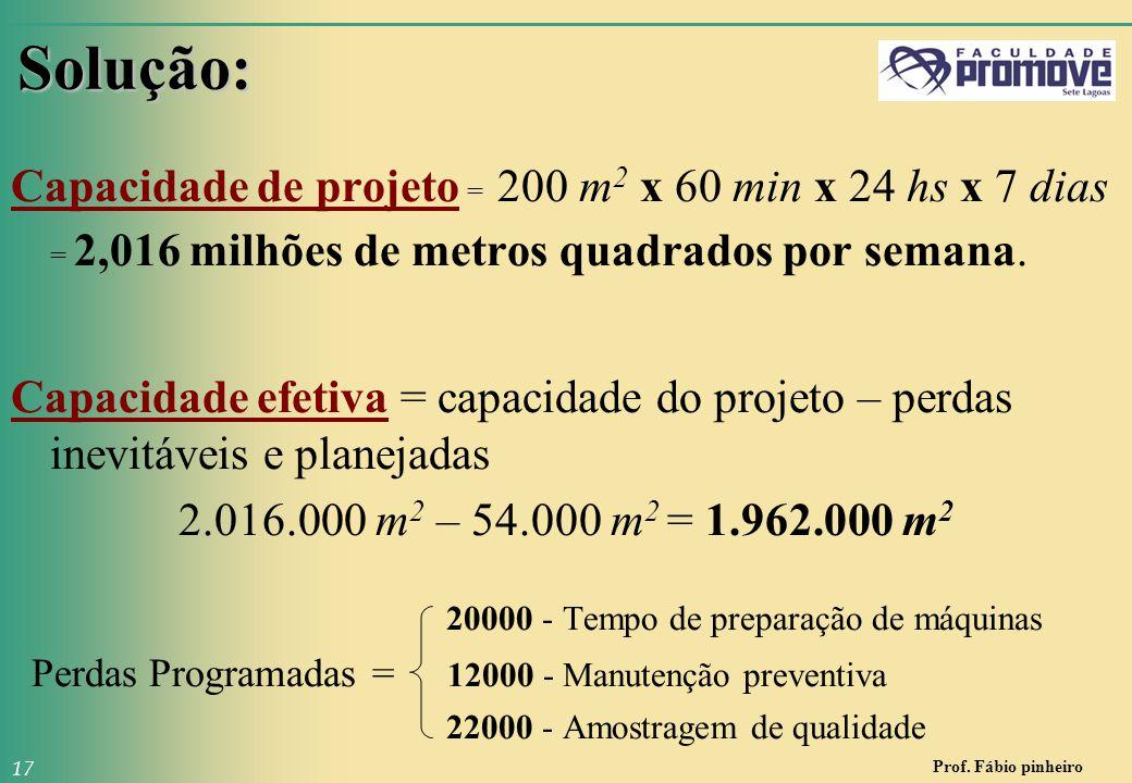 Prof. Fábio pinheiro 17 Solução: Capacidade de projeto = 200 m 2 x 60 min x 24 hs x 7 dias = 2,016 milhões de metros quadrados por semana. Capacidade