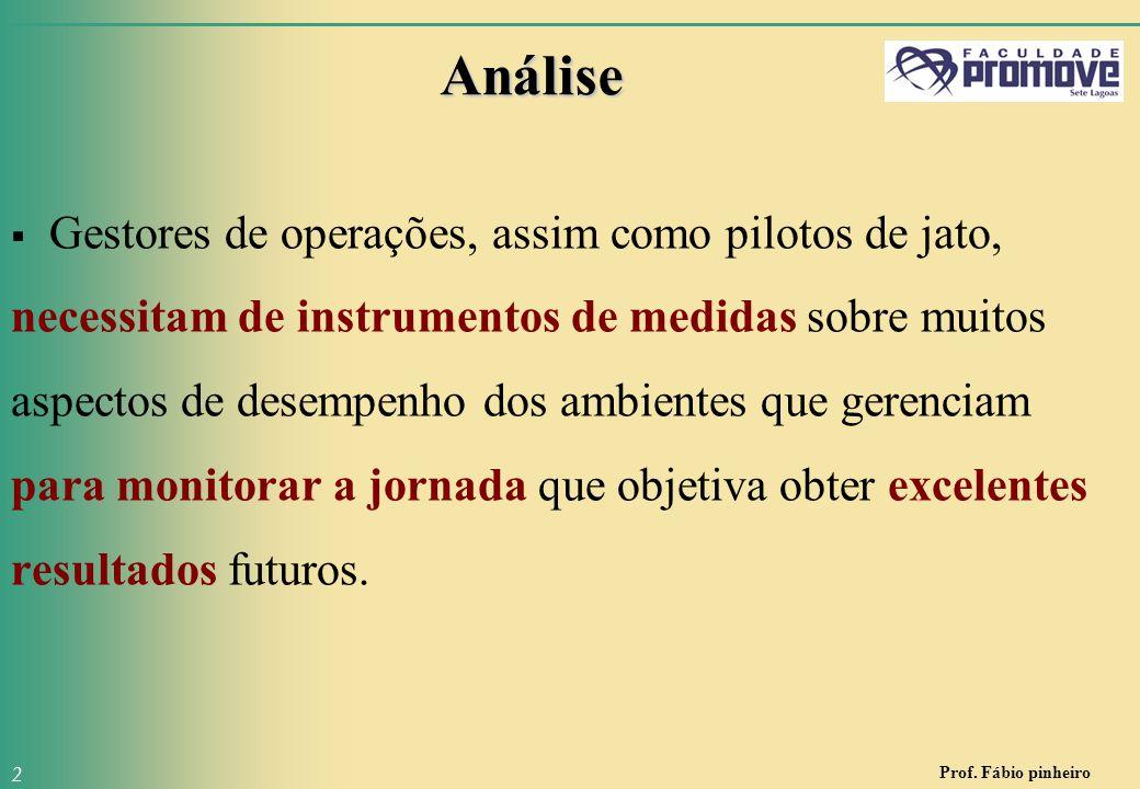 Prof. Fábio pinheiro 2 Análise  Gestores de operações, assim como pilotos de jato, necessitam de instrumentos de medidas sobre muitos aspectos de des