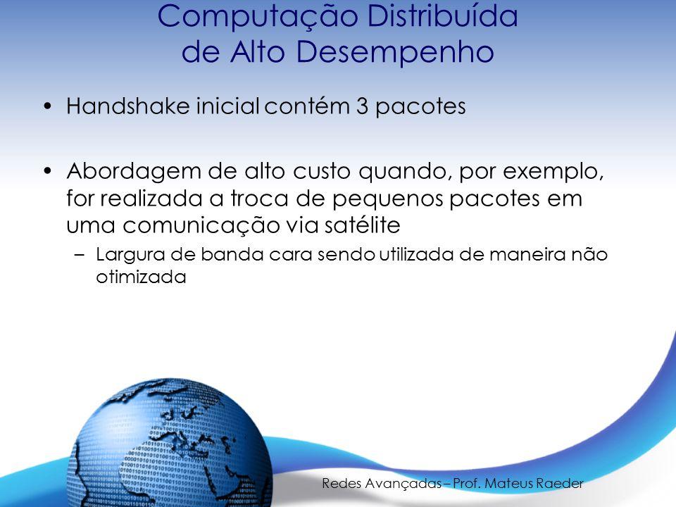 Redes Avançadas – Prof. Mateus Raeder Computação Distribuída de Alto Desempenho Handshake inicial contém 3 pacotes Abordagem de alto custo quando, por