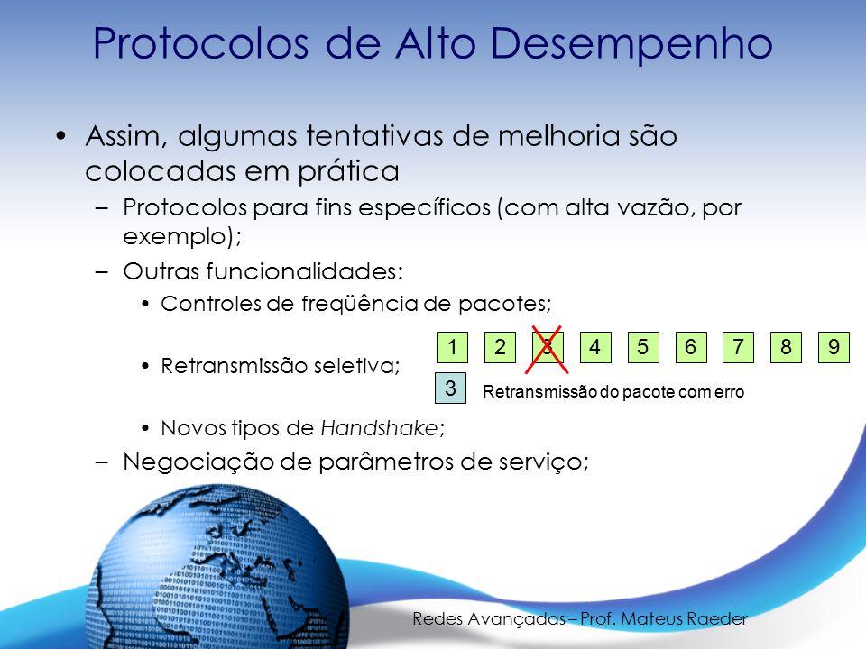 Redes Avançadas – Prof. Mateus Raeder Protocolos de Alto Desempenho Assim, algumas tentativas de melhoria são colocadas em prática –Protocolos para fi