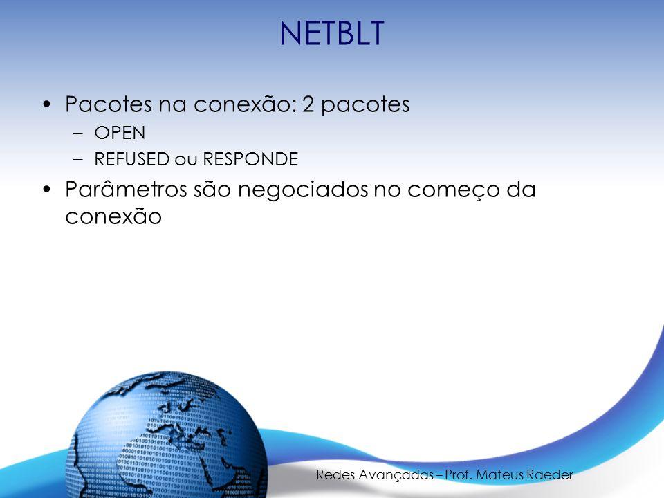 Redes Avançadas – Prof. Mateus Raeder NETBLT Pacotes na conexão: 2 pacotes –OPEN –REFUSED ou RESPONDE Parâmetros são negociados no começo da conexão
