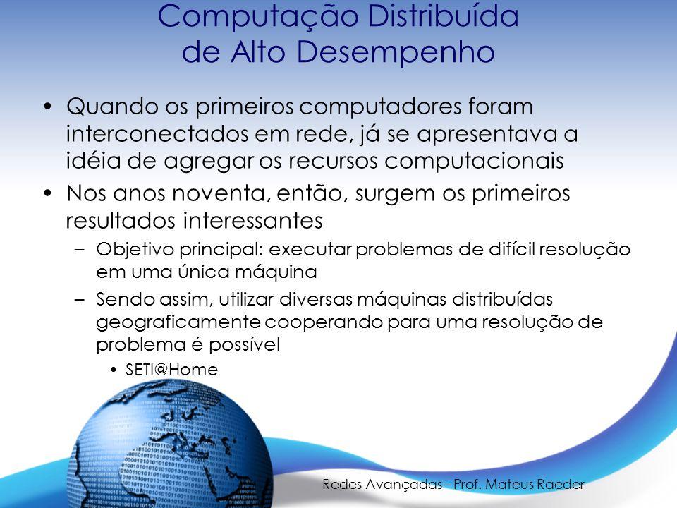 Redes Avançadas – Prof. Mateus Raeder Computação Distribuída de Alto Desempenho Quando os primeiros computadores foram interconectados em rede, já se