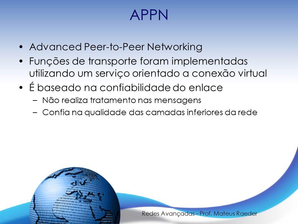 Redes Avançadas – Prof. Mateus Raeder APPN Advanced Peer-to-Peer Networking Funções de transporte foram implementadas utilizando um serviço orientado