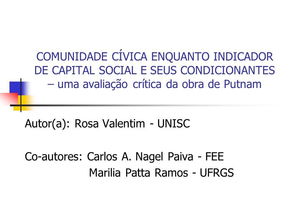 COMUNIDADE CÍVICA ENQUANTO INDICADOR DE CAPITAL SOCIAL E SEUS CONDICIONANTES – uma avaliação crítica da obra de Putnam Autor(a): Rosa Valentim - UNISC