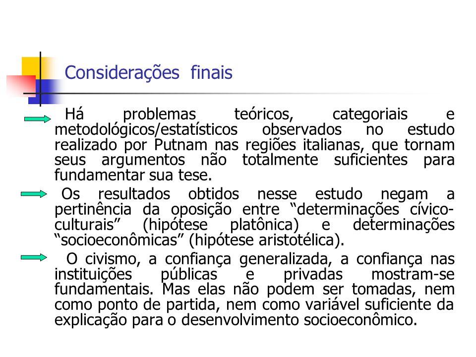Considerações finais Há problemas teóricos, categoriais e metodológicos/estatísticos observados no estudo realizado por Putnam nas regiões italianas,