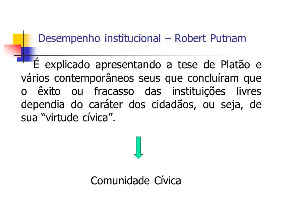 Desempenho institucional – Robert Putnam É explicado apresentando a tese de Platão e vários contemporâneos seus que concluíram que o êxito ou fracasso