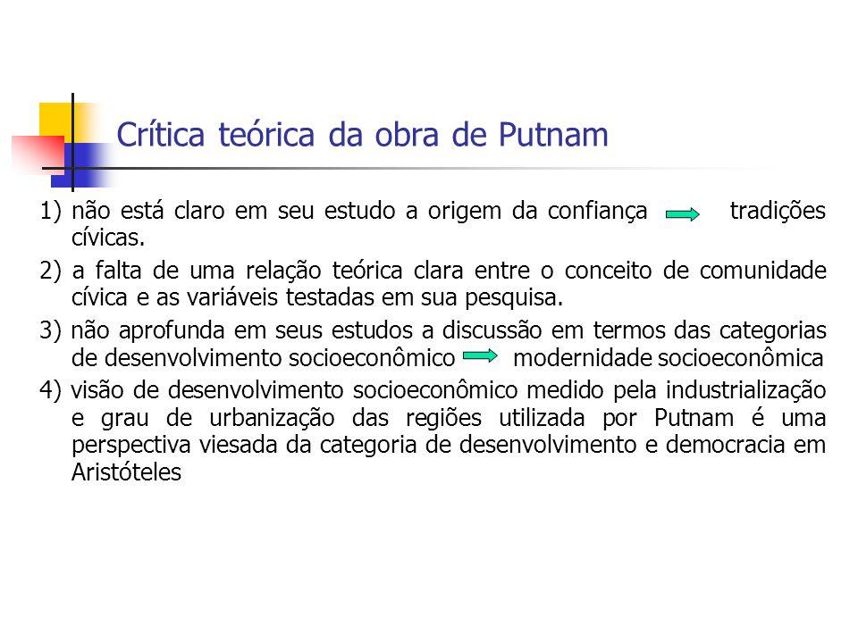 Crítica teórica da obra de Putnam 1) não está claro em seu estudo a origem da confiança tradições cívicas. 2) a falta de uma relação teórica clara ent