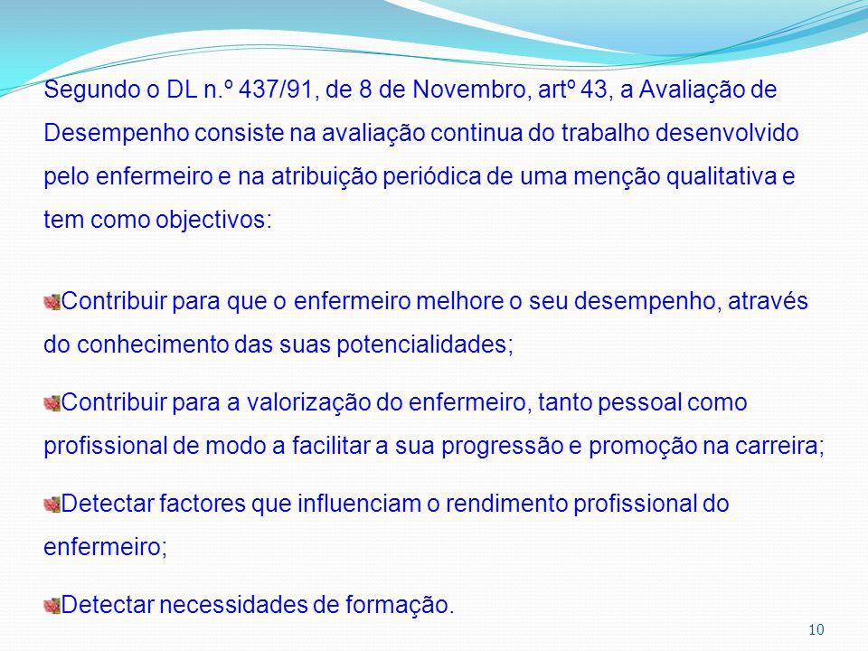 10 Segundo o DL n.º 437/91, de 8 de Novembro, artº 43, a Avaliação de Desempenho consiste na avaliação continua do trabalho desenvolvido pelo enfermei