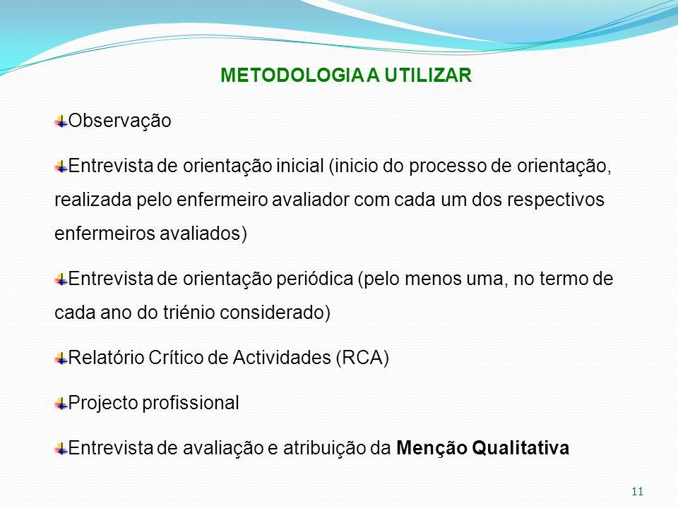 11 METODOLOGIA A UTILIZAR Observação Entrevista de orientação inicial (inicio do processo de orientação, realizada pelo enfermeiro avaliador com cada