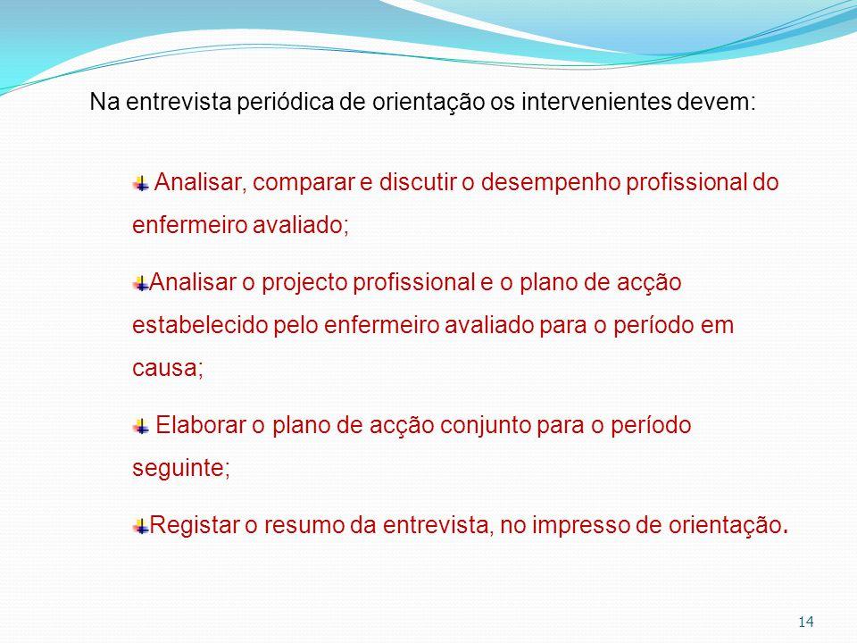 14 Na entrevista periódica de orientação os intervenientes devem: Analisar, comparar e discutir o desempenho profissional do enfermeiro avaliado; Anal