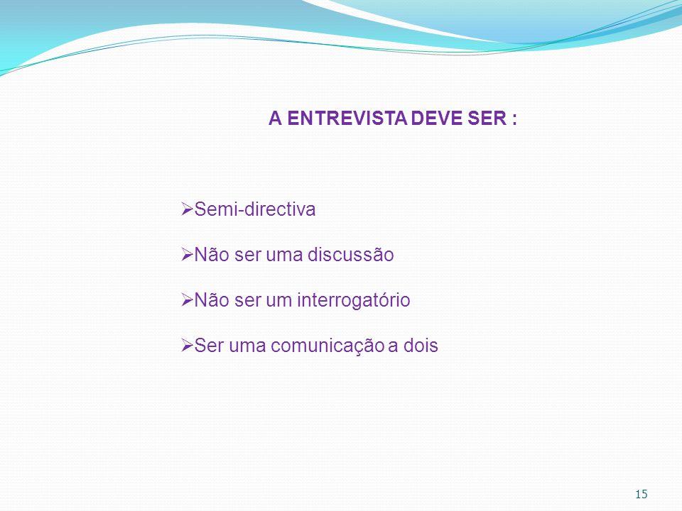 15 A ENTREVISTA DEVE SER :  Semi-directiva  Não ser uma discussão  Não ser um interrogatório  Ser uma comunicação a dois