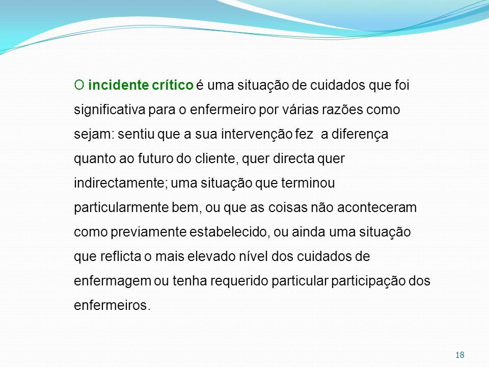 18 O incidente crítico é uma situação de cuidados que foi significativa para o enfermeiro por várias razões como sejam: sentiu que a sua intervenção f