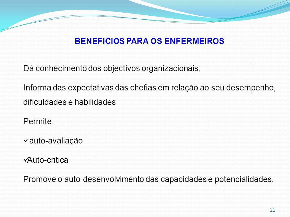 21 BENEFICIOS PARA OS ENFERMEIROS Dá conhecimento dos objectivos organizacionais; Informa das expectativas das chefias em relação ao seu desempenho, d