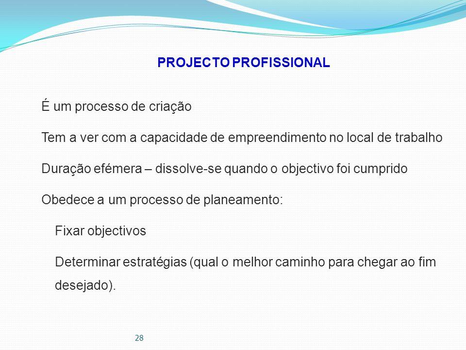 28 PROJECTO PROFISSIONAL É um processo de criação Tem a ver com a capacidade de empreendimento no local de trabalho Duração efémera – dissolve-se quan