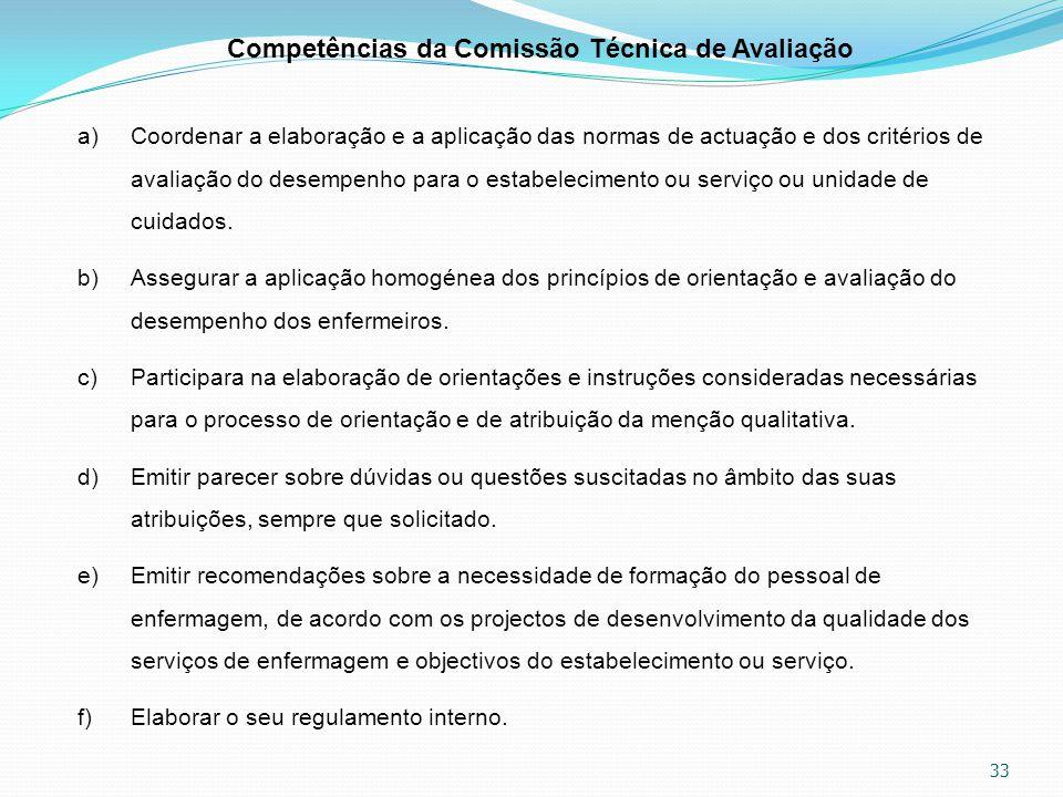 33 Competências da Comissão Técnica de Avaliação a)Coordenar a elaboração e a aplicação das normas de actuação e dos critérios de avaliação do desempe
