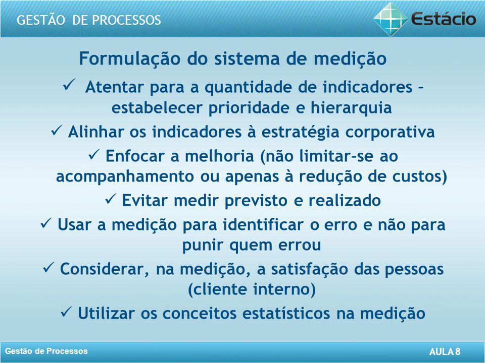 AULA 8 GESTÃO DE PROCESSOS Gestão de Processos AULA 8 Formulação do sistema de medição Atentar para a quantidade de indicadores – estabelecer priorida