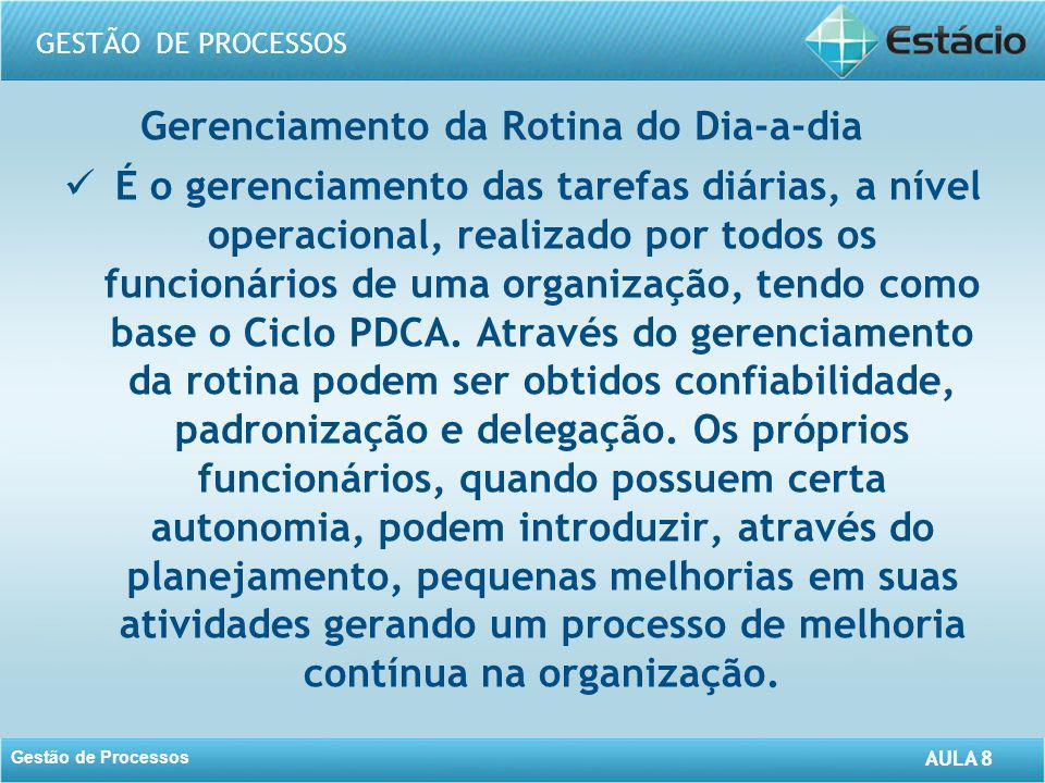 AULA 8 GESTÃO DE PROCESSOS Gestão de Processos AULA 8 Gerenciamento da Rotina do Dia-a-dia É o gerenciamento das tarefas diárias, a nível operacional,