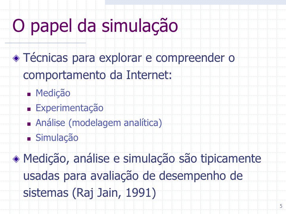 5 O papel da simulação Técnicas para explorar e compreender o comportamento da Internet: Medição Experimentação Análise (modelagem analítica) Simulação Medição, análise e simulação são tipicamente usadas para avaliação de desempenho de sistemas (Raj Jain, 1991)
