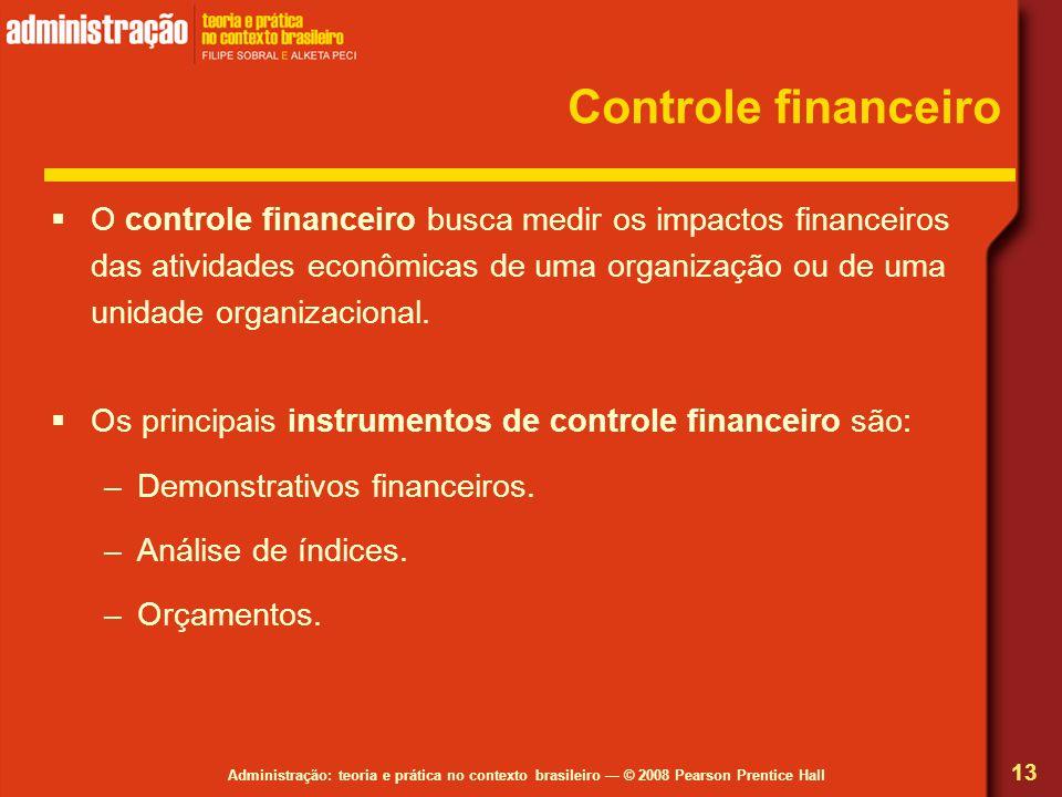 Administração: teoria e prática no contexto brasileiro — © 2008 Pearson Prentice Hall Controle financeiro  O controle financeiro busca medir os impactos financeiros das atividades econômicas de uma organização ou de uma unidade organizacional.