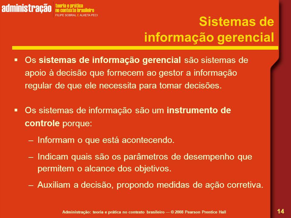 Administração: teoria e prática no contexto brasileiro — © 2008 Pearson Prentice Hall Sistemas de informação gerencial  Os sistemas de informação ger