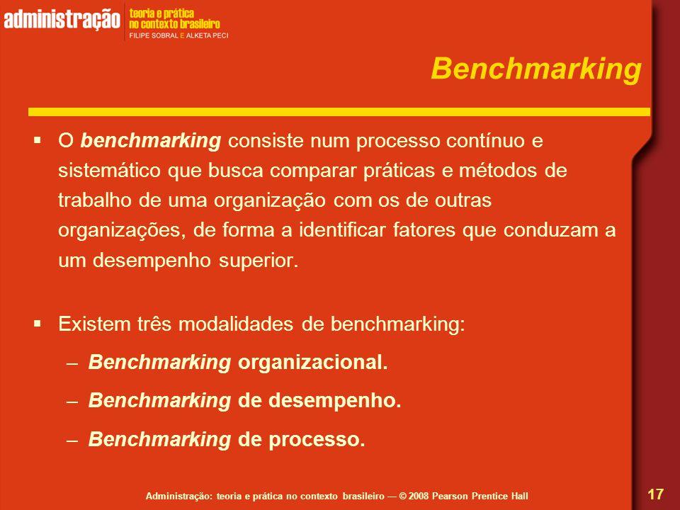 Administração: teoria e prática no contexto brasileiro — © 2008 Pearson Prentice Hall Benchmarking  O benchmarking consiste num processo contínuo e sistemático que busca comparar práticas e métodos de trabalho de uma organização com os de outras organizações, de forma a identificar fatores que conduzam a um desempenho superior.