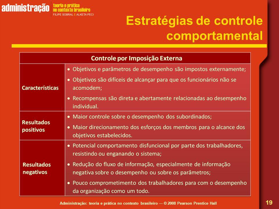 Administração: teoria e prática no contexto brasileiro — © 2008 Pearson Prentice Hall Estratégias de controle comportamental 19