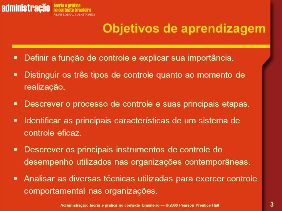 Administração: teoria e prática no contexto brasileiro — © 2008 Pearson Prentice Hall Objetivos de aprendizagem  Definir a função de controle e explicar sua importância.