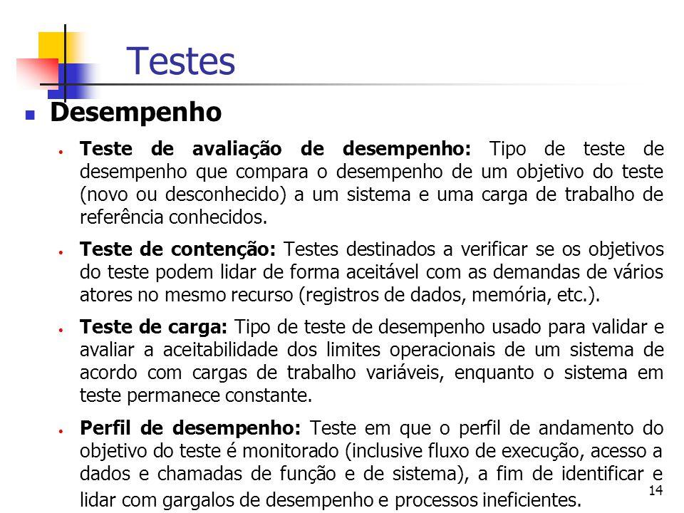 14 Testes Desempenho  Teste de avaliação de desempenho: Tipo de teste de desempenho que compara o desempenho de um objetivo do teste (novo ou desconhecido) a um sistema e uma carga de trabalho de referência conhecidos.