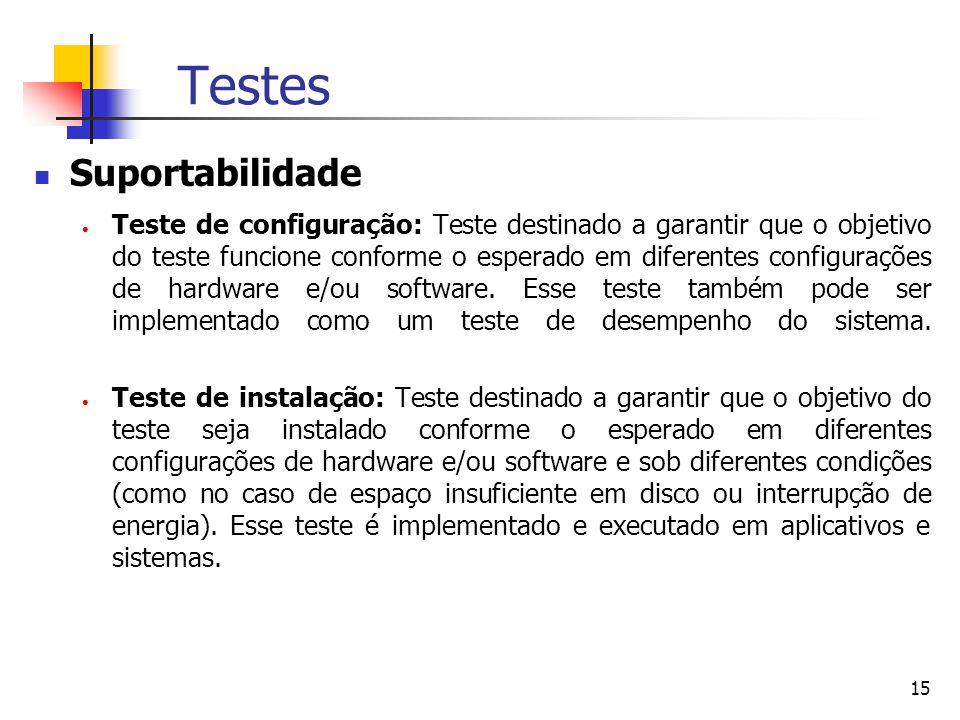 15 Testes Suportabilidade  Teste de configuração: Teste destinado a garantir que o objetivo do teste funcione conforme o esperado em diferentes configurações de hardware e/ou software.