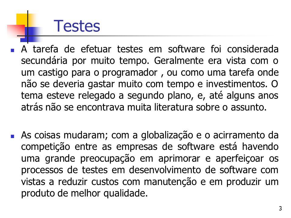 3 Testes A tarefa de efetuar testes em software foi considerada secundária por muito tempo.