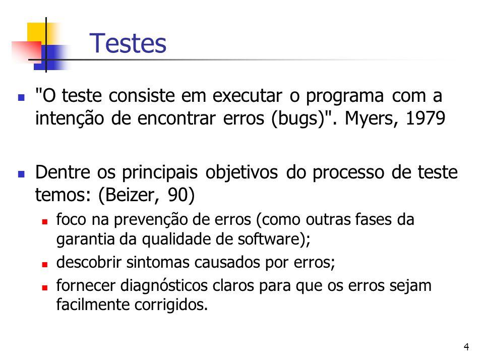 4 Testes O teste consiste em executar o programa com a intenção de encontrar erros (bugs) .
