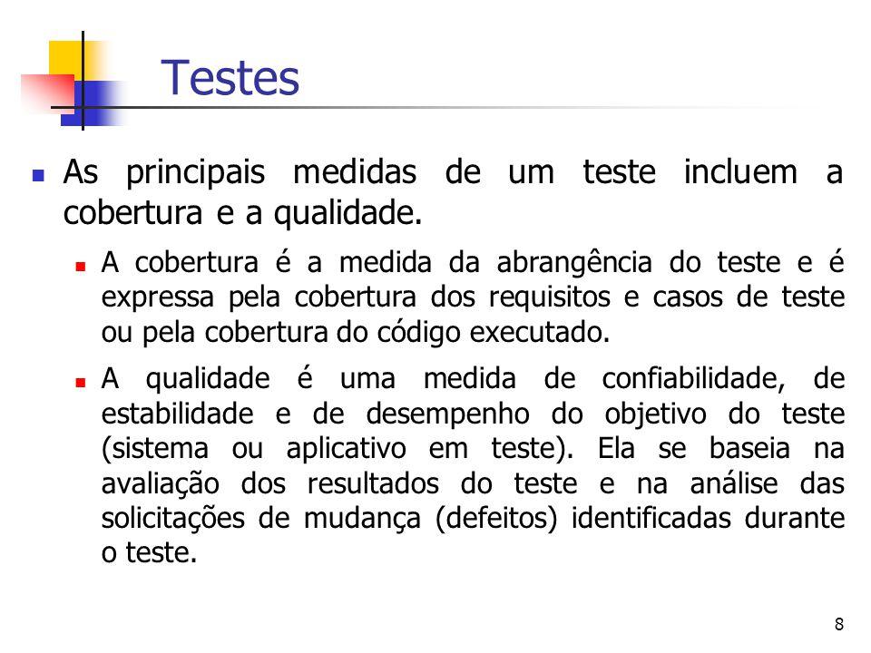 8 Testes As principais medidas de um teste incluem a cobertura e a qualidade.