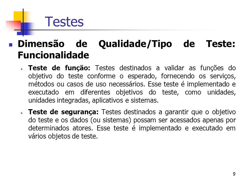 9 Testes Dimensão de Qualidade/Tipo de Teste: Funcionalidade  Teste de função: Testes destinados a validar as funções do objetivo do teste conforme o esperado, fornecendo os serviços, métodos ou casos de uso necessários.