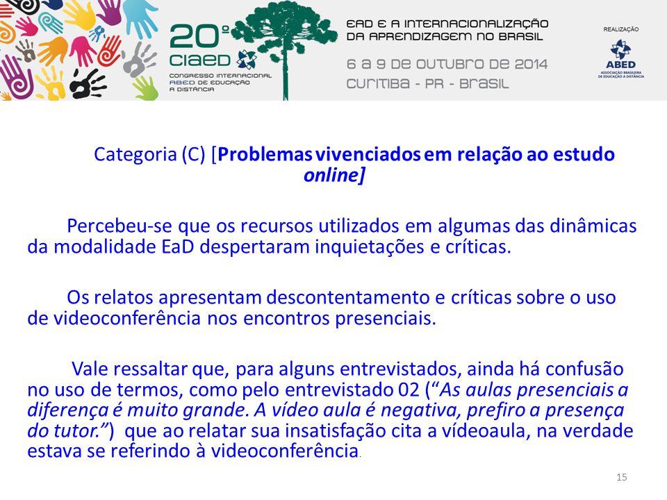 Categoria (C) [Problemas vivenciados em relação ao estudo online] Percebeu-se que os recursos utilizados em algumas das dinâmicas da modalidade EaD despertaram inquietações e críticas.